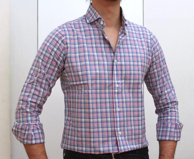 CIT LUXURY(チットラグジュアリー)ウォッシュド コットン タータンチェック ワイドカラーシャツ