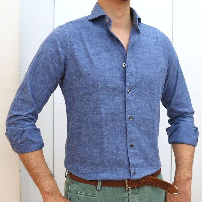 CIT LUXURY(チットラグジュアリー) PAUL ブラッシュドコットン シャンブレー ワイドカラーシャツ