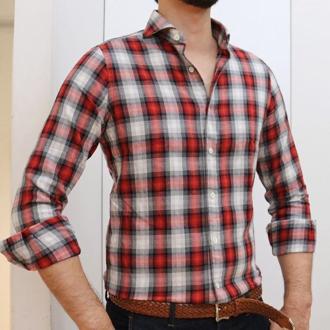 CIT LUXURY(チットラグジュアリー)PAUL ウォッシュド コットン タータンチェック ワイドカラーシャツ