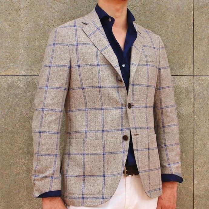 Cantarelli(カンタレリ)ウール シルク リネン メランジ ウィンドウペーン シングル3Bジャケット