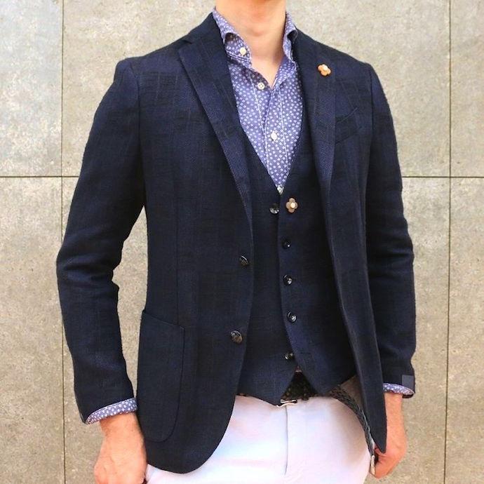 LARDINI(ラルディーニ)コットン リネン ジャガードチェック メランジ シングル3Bジャケット