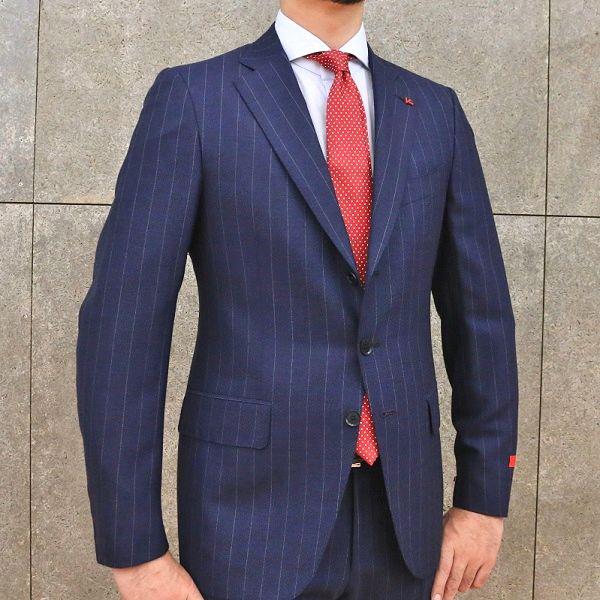 ISAIA(イザイア)GREGORY ウール メランジ ピンストライプ シングル3Bスーツ